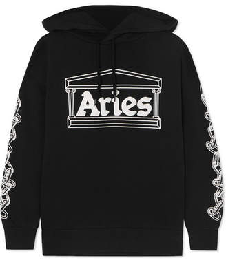 Aries 2 Chains Printed Cotton-jersey Hoodie - Black