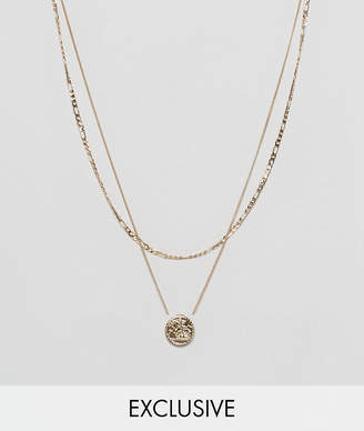 Asos Chained & Able sovereign mini medallion layer necklace in gold exclusive to