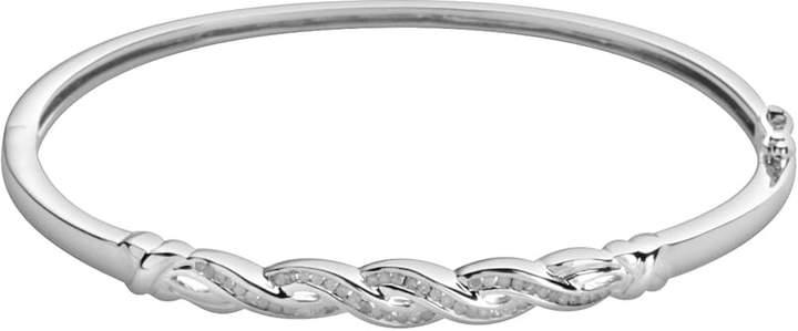 Sterling Silver 1/4-ct. T.W. Diamond Infinity Bangle Bracelet