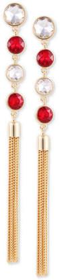 GUESS Gold-Tone Crystal & Chain Tassel Linear Drop Earrings