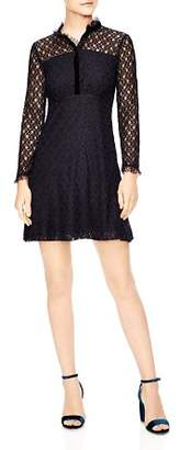 Sandro Vegetale Sheer-Detail Lace Mini Dress