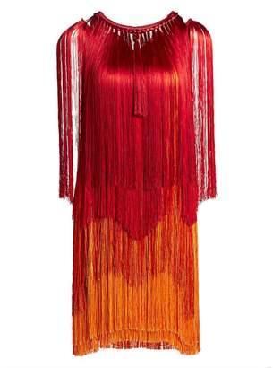 Alberta Ferretti Tiered Fringe Sleeveless Dress