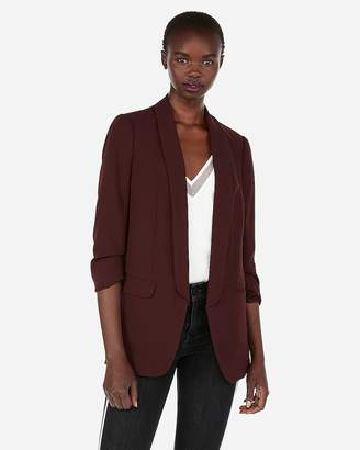 Express Ruched Sleeve Boyfriend Blazer