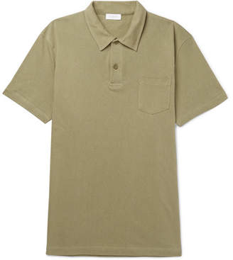 Sunspel Riviera Slim-Fit Cotton-Mesh Polo Shirt - Green