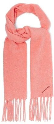 Acne Studios Villy Logo Embroidered Wool Blend Boucle Scarf - Womens - Pink