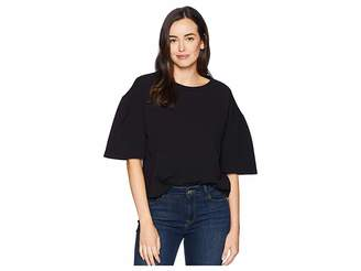 Ellen Tracy Cropped Knit Top w/ Slit Sleeves Women's Clothing