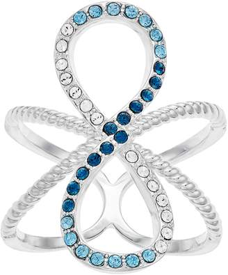 Brilliance+ Brilliance Silver Tone Blue Ombre Infinity Ring with Swarovski Crystal