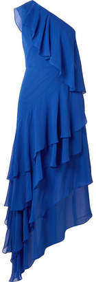 Alice + Olivia Alanis One-shoulder Ruffled Silk-chiffon Gown - Bright blue