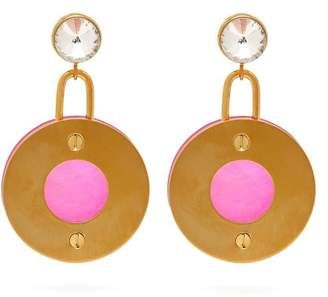 Marni Crystal Drop Disc Earrings - Womens - Pink