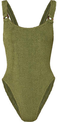Hunza G - Domino Seersucker Swimsuit - Army green
