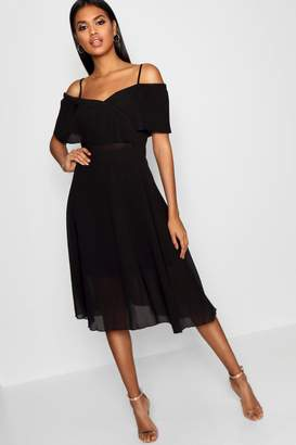 boohoo Pleated Cold Shoulder Midi Skater Dress