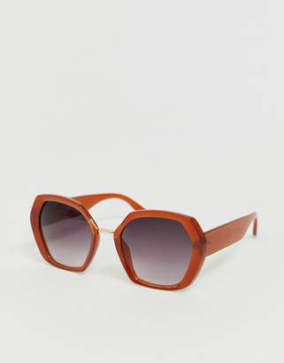 848ade8b149 Asos Design DESIGN oversized 70s hexagon sunglasses with metal nose bridge