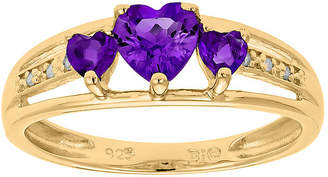JCPenney FINE JEWELRY Genuine Amethyst and Diamond-Accent 3-Stone Heart Ring