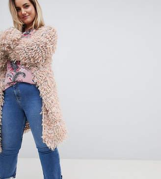 Glamorous Curve Oversized Cardigan In Shaggy Knit