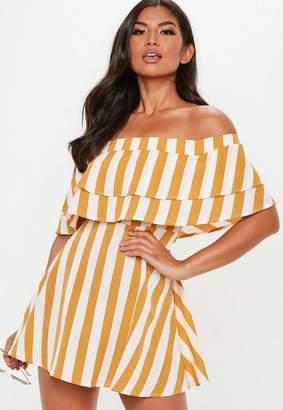 Missguided Mustard Overlay Stripe Frill Bardot Skater Dress