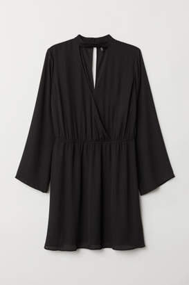 H&M H&M+ V-neck Wrap Dress - Black