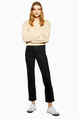Topshop Womens Clean Black Straight Jeans