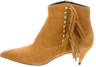 Saint LaurentSaint Laurent Suede Fringe Ankle Boots w/ Tags