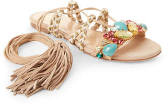 Gedebe Sand Alison Embellished Ankle-Wrap Flat Sandals
