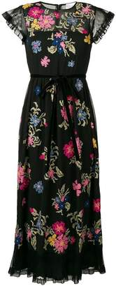 RED Valentino floral print belted tulle dress