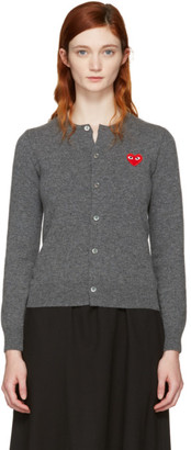Comme des Garçons Play Grey & Red Heart Patch Cardigan $375 thestylecure.com