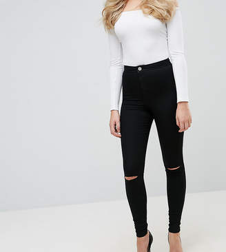 Asos Tall Design Tall Rivington Jegging In Clean Black With Rips