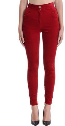 Balmain Slim-fit Red Velvet Pants