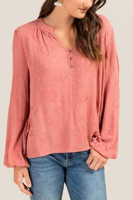 francesca's Kacey Embroidered Peasant Blouse - Rose