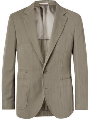 Brunello Cucinelli Slim-Fit Herringbone Cotton and Linen-Blend Suit Jacket - Men - Army green