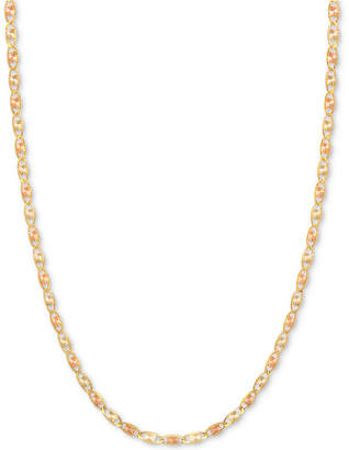 "Macy's 20"" Tri-Color Valentina Chain (1/5mm) in 14k Gold, White Gold and Rose Gold"