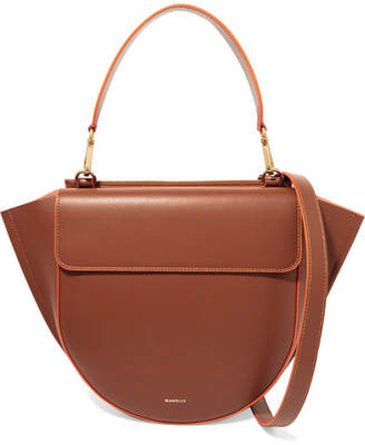 Hortensia Wandler Medium Neon-trimmed Leather Shoulder Bag - Tan