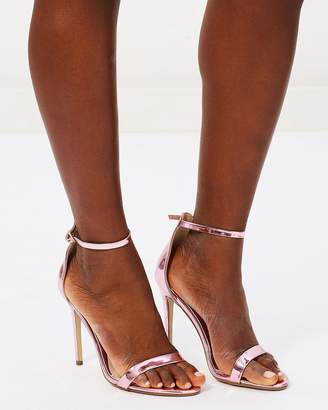 Missguided Two-Strap Metallic Barely There Heels