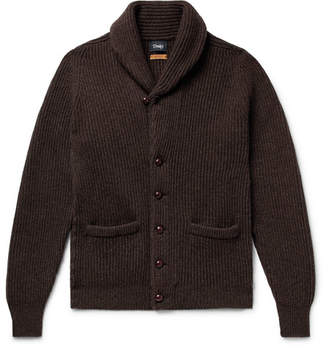 Drakes Drake's Slim-Fit Shawl-Collar Ribbed Wool Cardigan