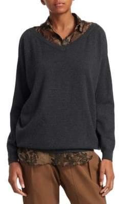 Brunello Cucinelli Layered Cashmere Boyfriend Sweater