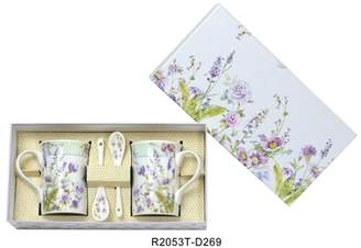 Lightahead® Lightahead Elegant Bone China Two Coffee Tea Mugs with Two Spoons set in Romantic Lavender Rose Design 11.2 oz each cup in attractive gift box