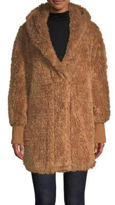 Sage Long Faux Fur Teddy Coat