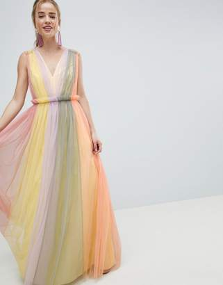 295164b1b568 Asos Design DESIGN Tulle Maxi Dress In Pastel Color Block