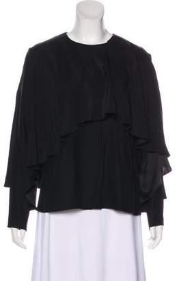 TY-LR Asymmetrical Silk Long Sleeve Top