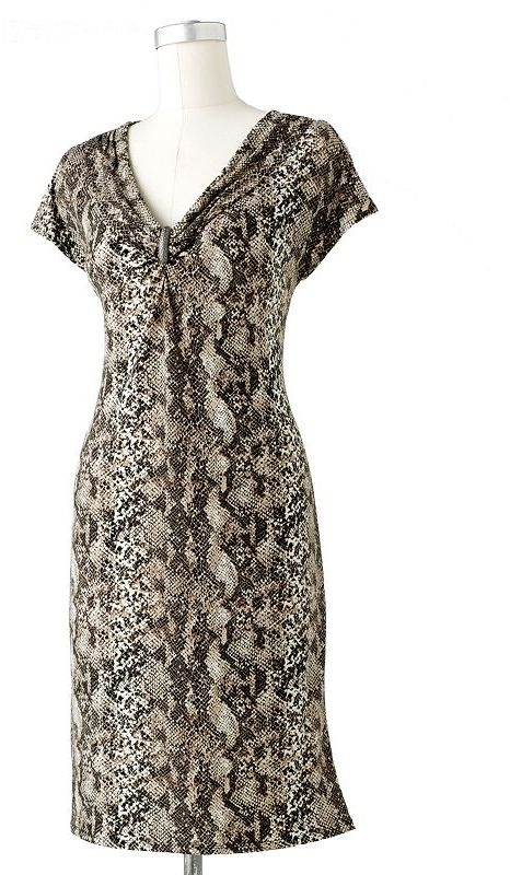 Dana Buchman snakeskin embellished shift dress
