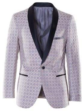 Paisley and Gray Slim-Tailored Geometric Jacquard Satin Tuexedo Jacket