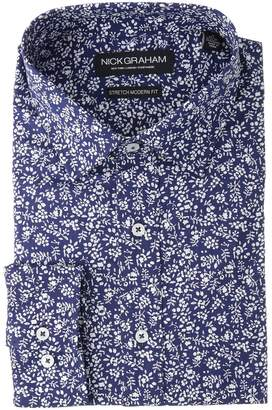 Nick Graham Floral Print Stretch Shirt Men's Long Sleeve Button Up