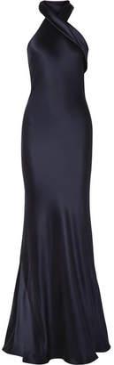 Pandora Galvan Silk-satin Gown - Midnight blue