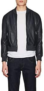 William Rast MEN'S LEATHER BOMBER JACKET-BLUE SIZE L
