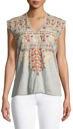 Johnny Was Allya Embroidered T-Shirt, Plus Size