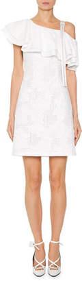 Off-White Ruffled Sangallo Lace One-Shoulder Dress