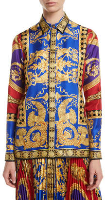 Versace Pillow Talk Archive Print Button-Front Long-Sleeve Silk Shirt