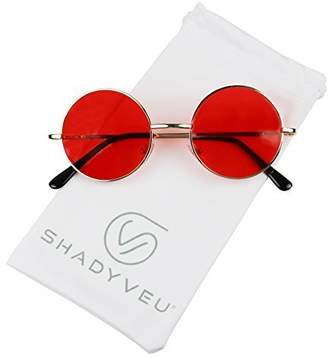 b598ae061c8 ShadyVEU - Retro Colorful Tint Lennon Style Round Groovy Hippie Wire  Sunglasses (Gold Frame