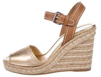 Prada Metallic Wedge Sandals