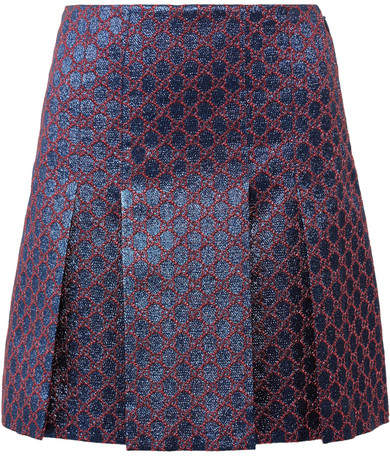 Gucci - Pleated Metallic Jacquard Mini Skirt - Blue