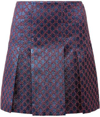 Gucci Pleated Metallic Jacquard Mini Skirt - Blue